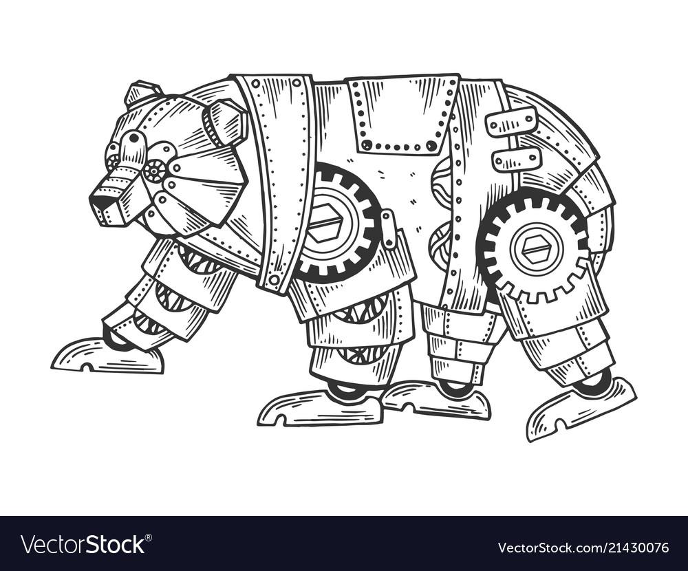 Mechanical bear animal engraving