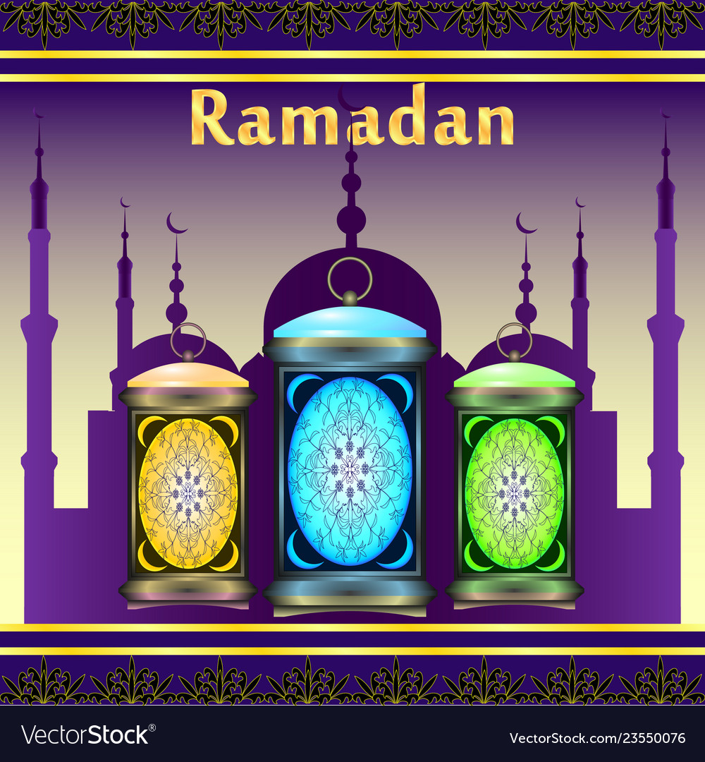 Ramadan silhouette of mosque holiday lanterns