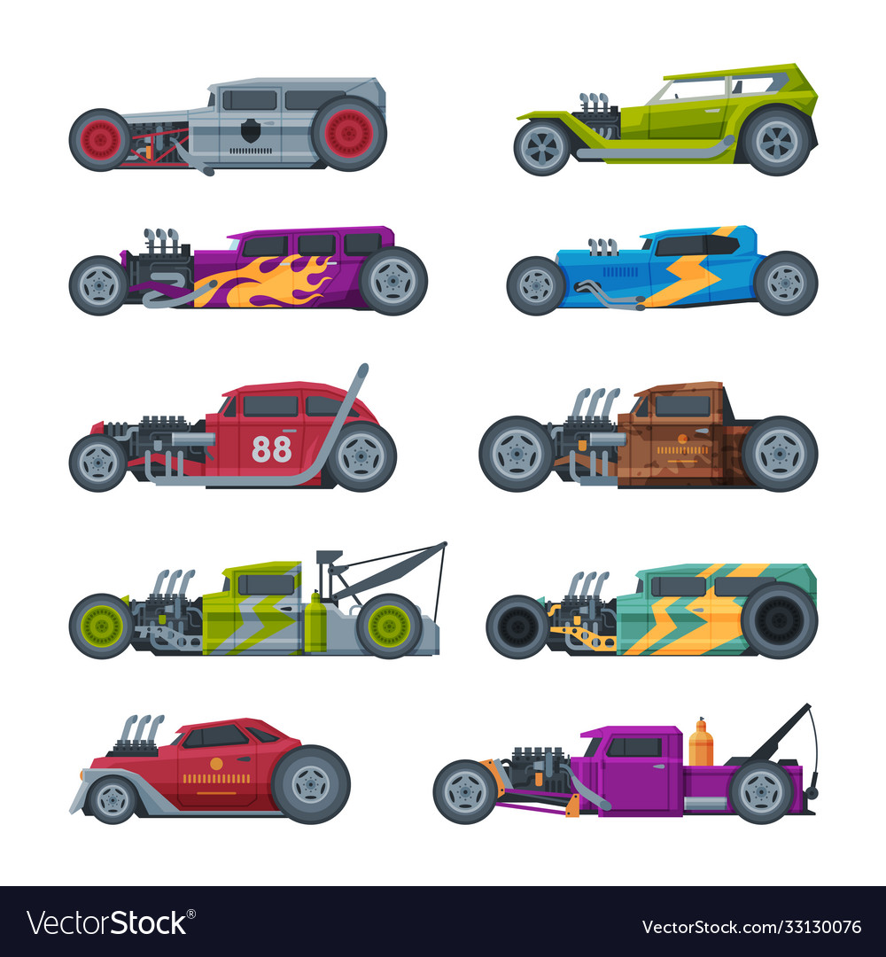 Retro style race cars collection old sports