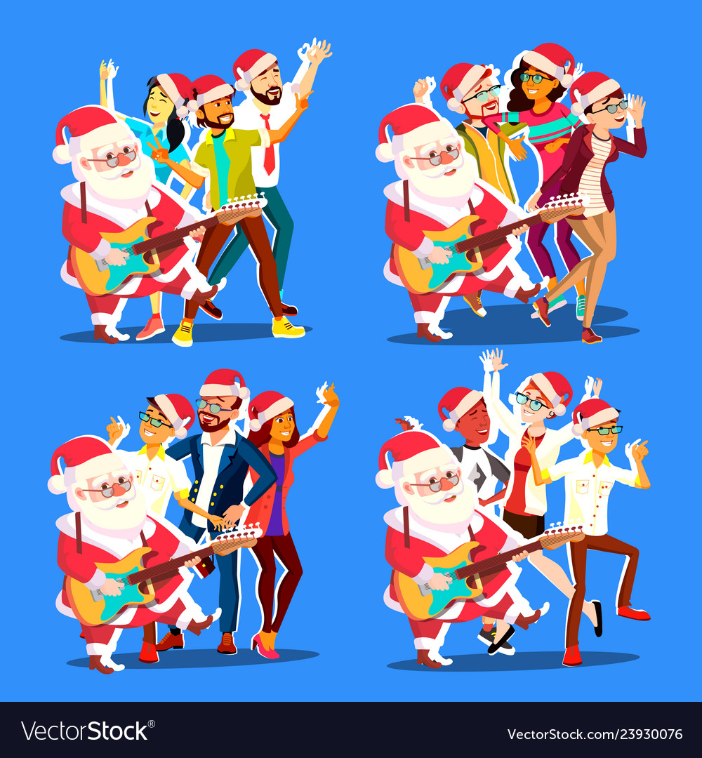 Santa claus dancing with group of people and
