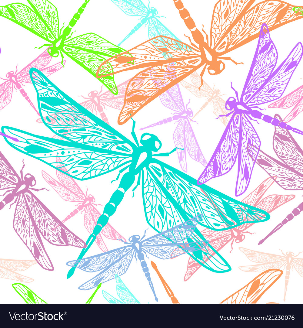 Seamless pattern with stylized dragonflies