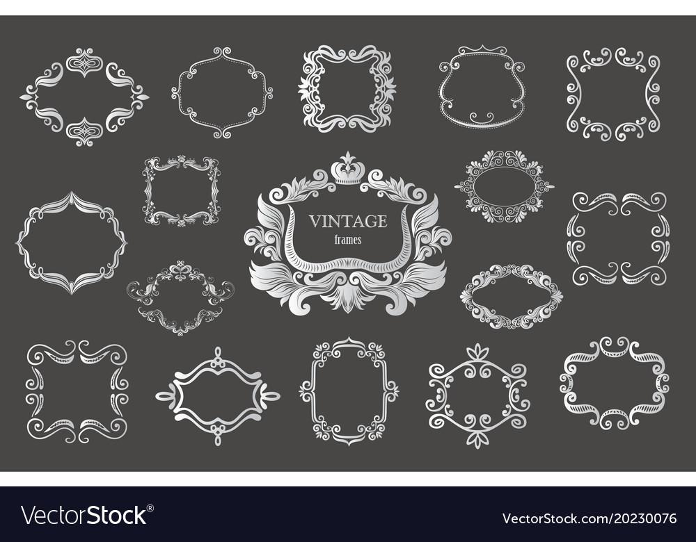 Set of silver vintage floral frames and monograms