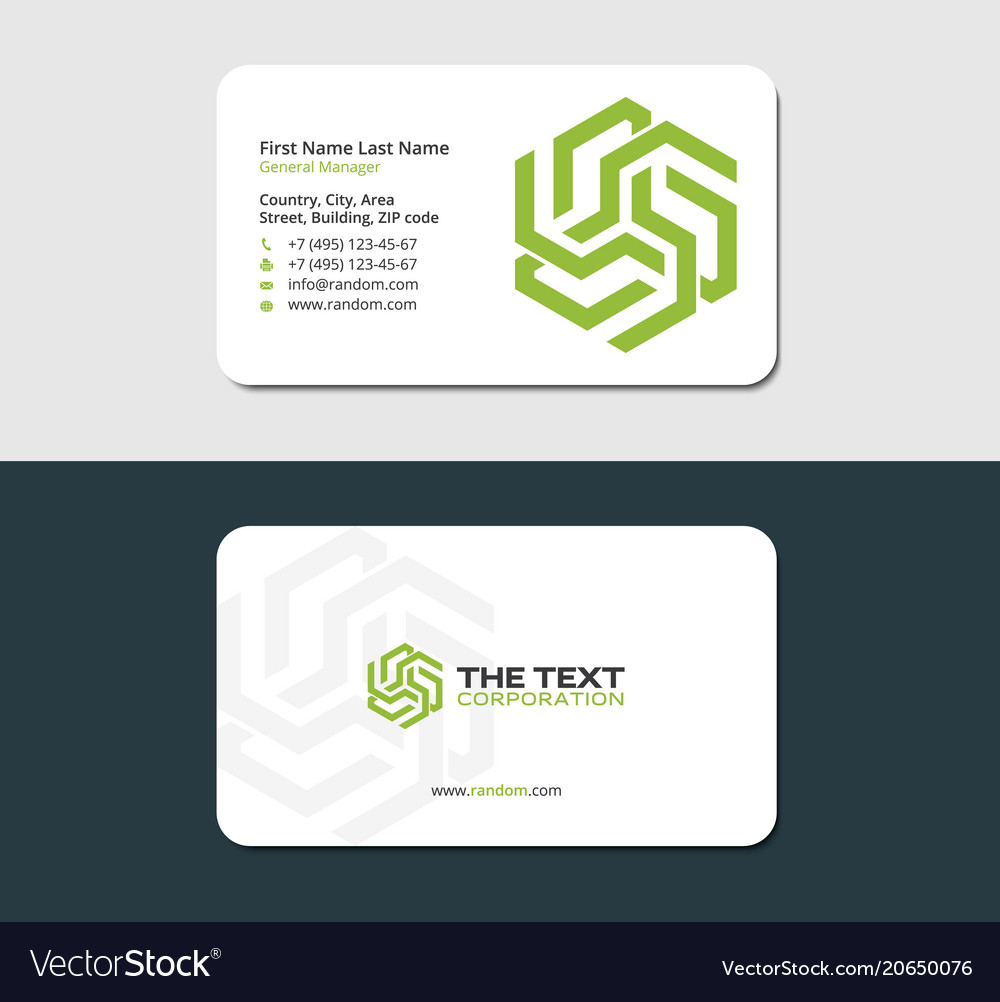 Smart business card green color Royalty Free Vector Image
