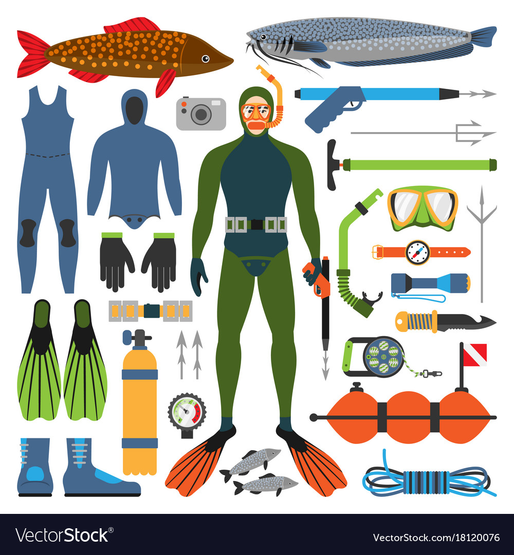 Underwater hunting and hunter man character with