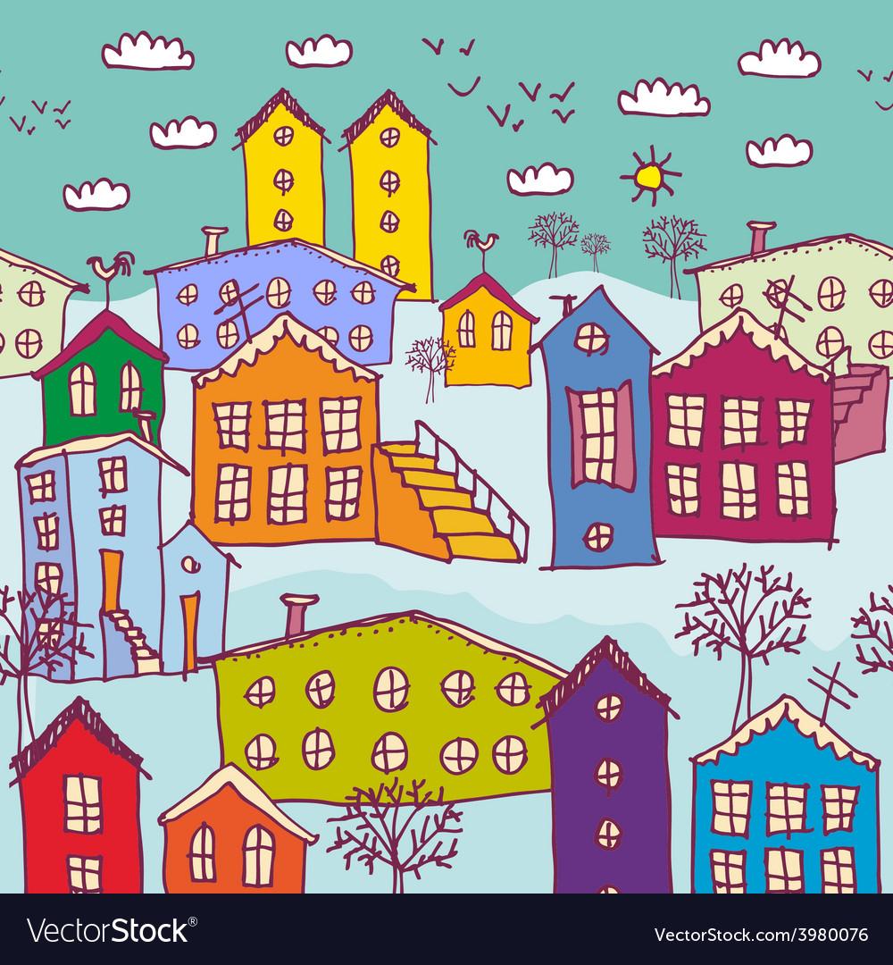 Urban winter landscape seamless pattern Sketch