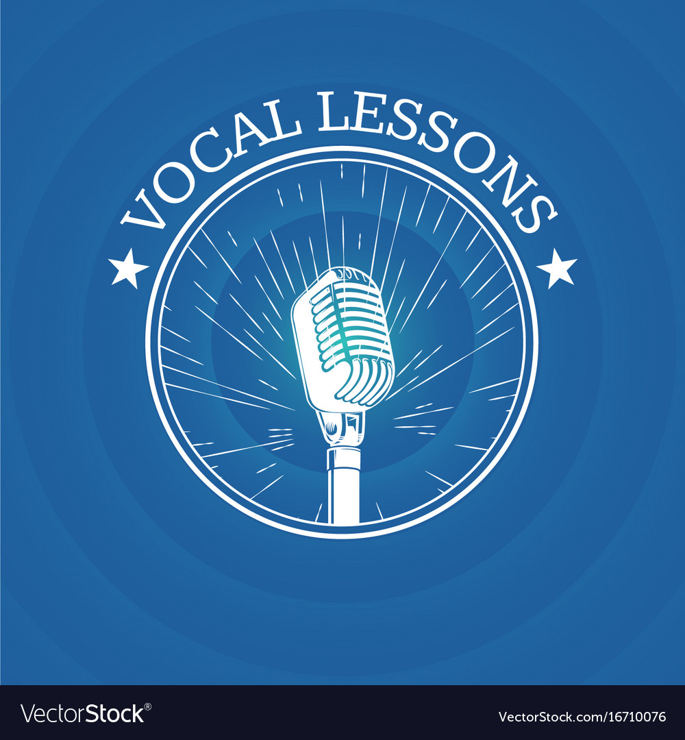 Vocal lessons logo with retro microphone on