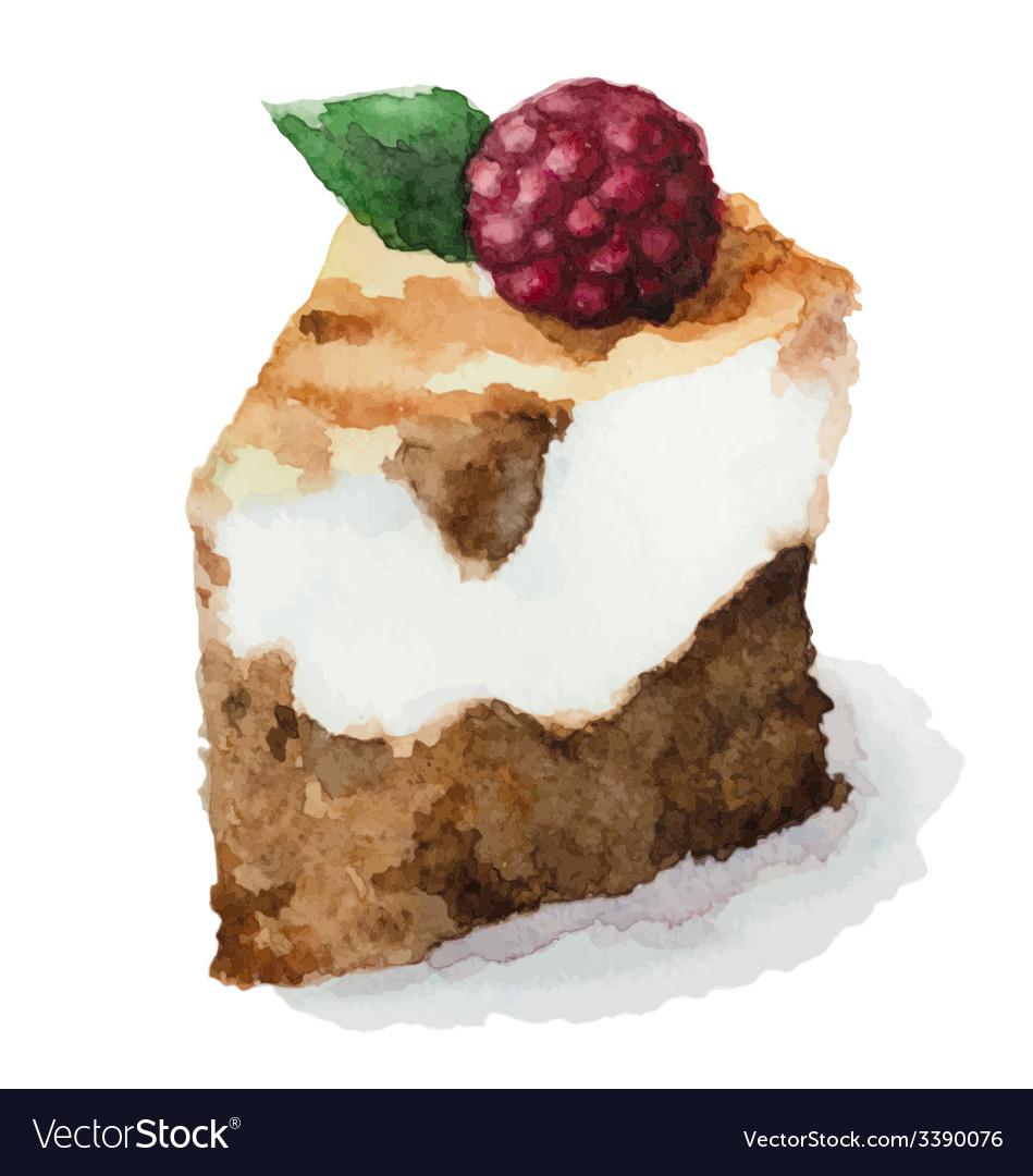 Watercolor pie piece of cake