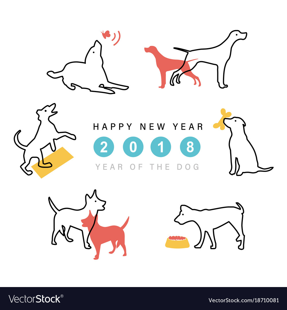 2018 happy new year dog cute funny cartoon vector image
