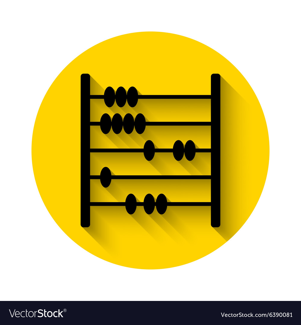 Abacus flat icon with long shadow vector image