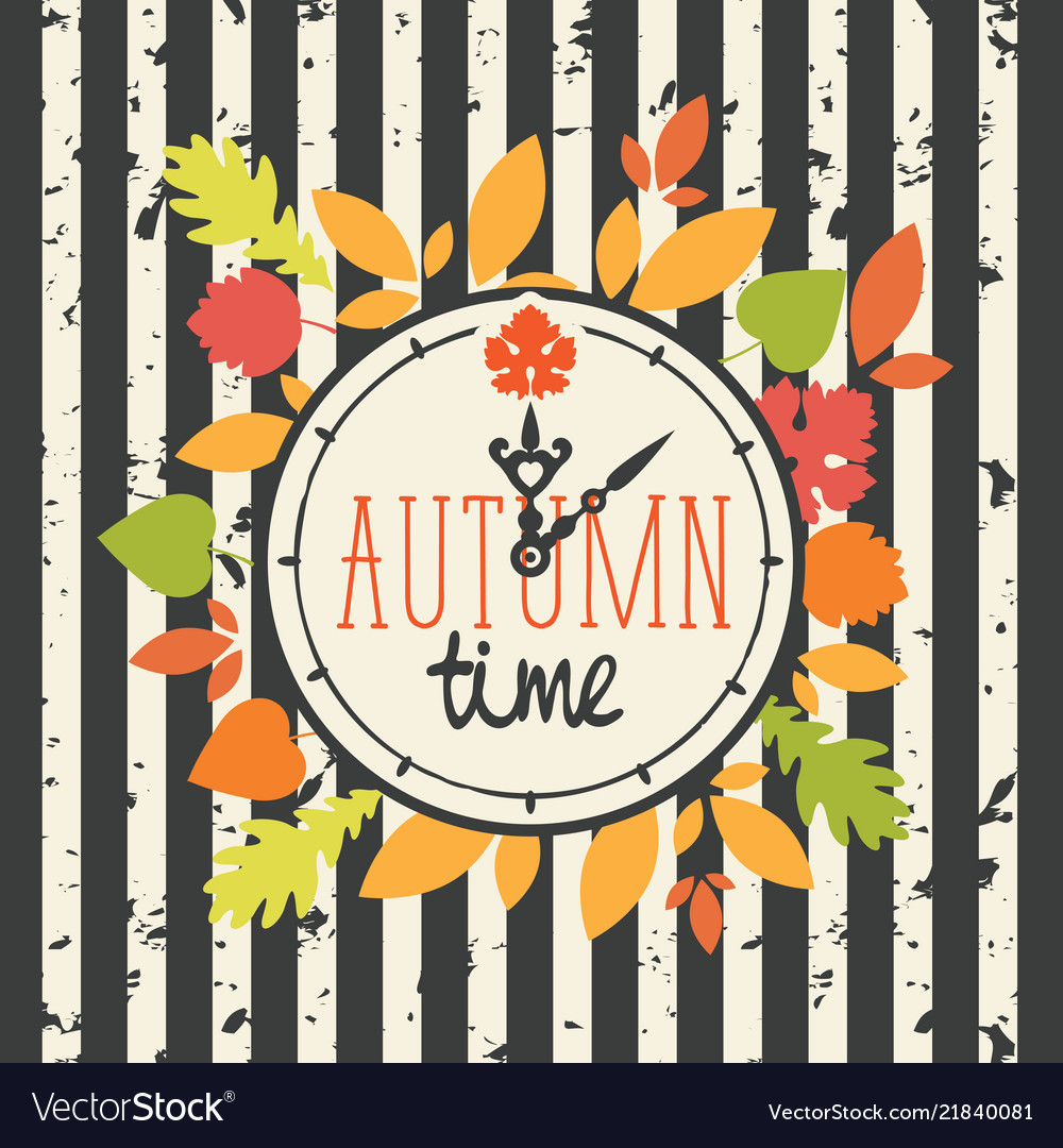 Autumn banner with clock and fall leaves