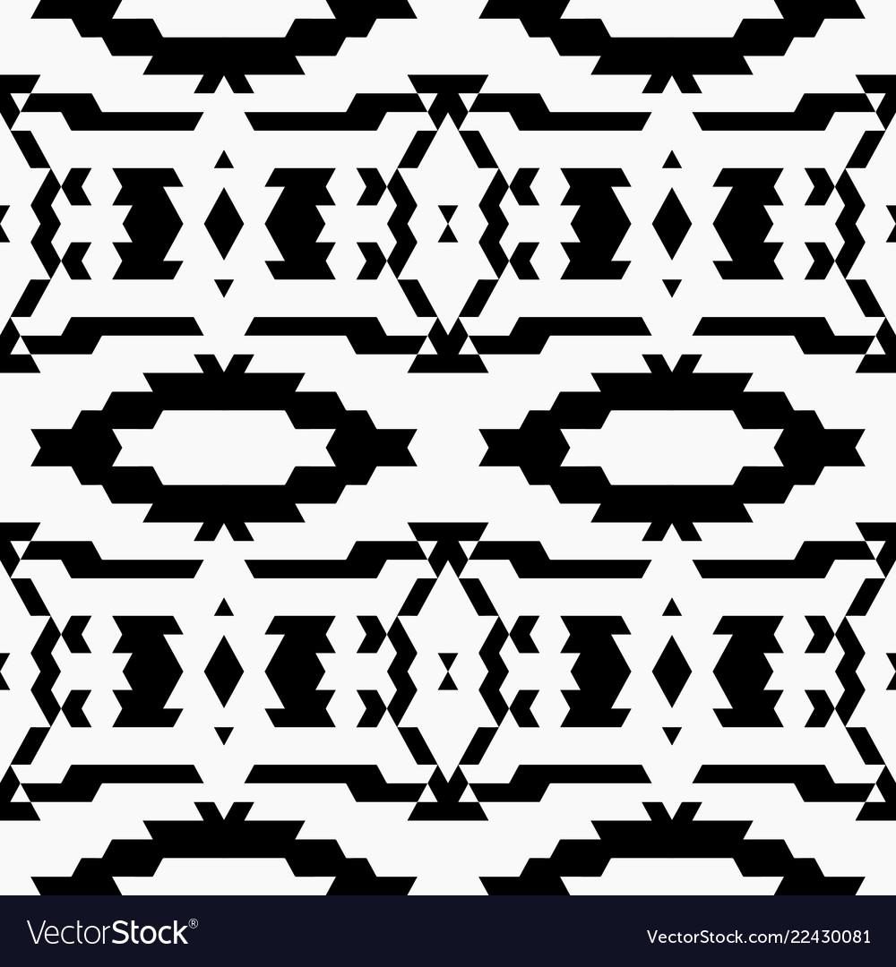 Aztec tribal seamless black pattern
