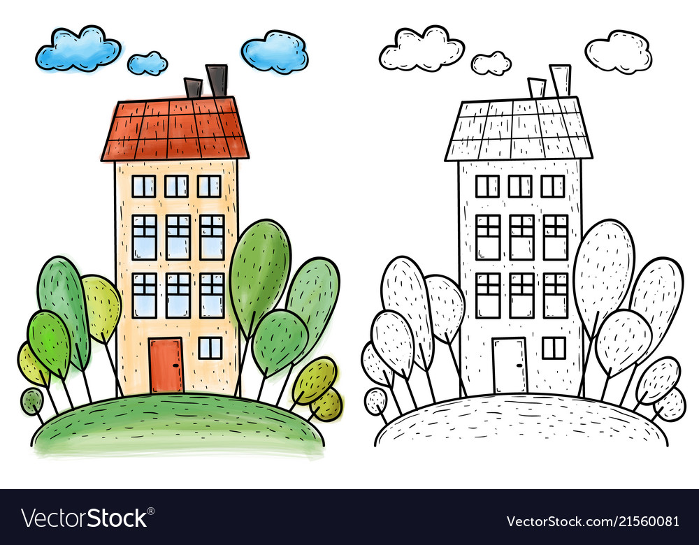 Big house with trees on hill