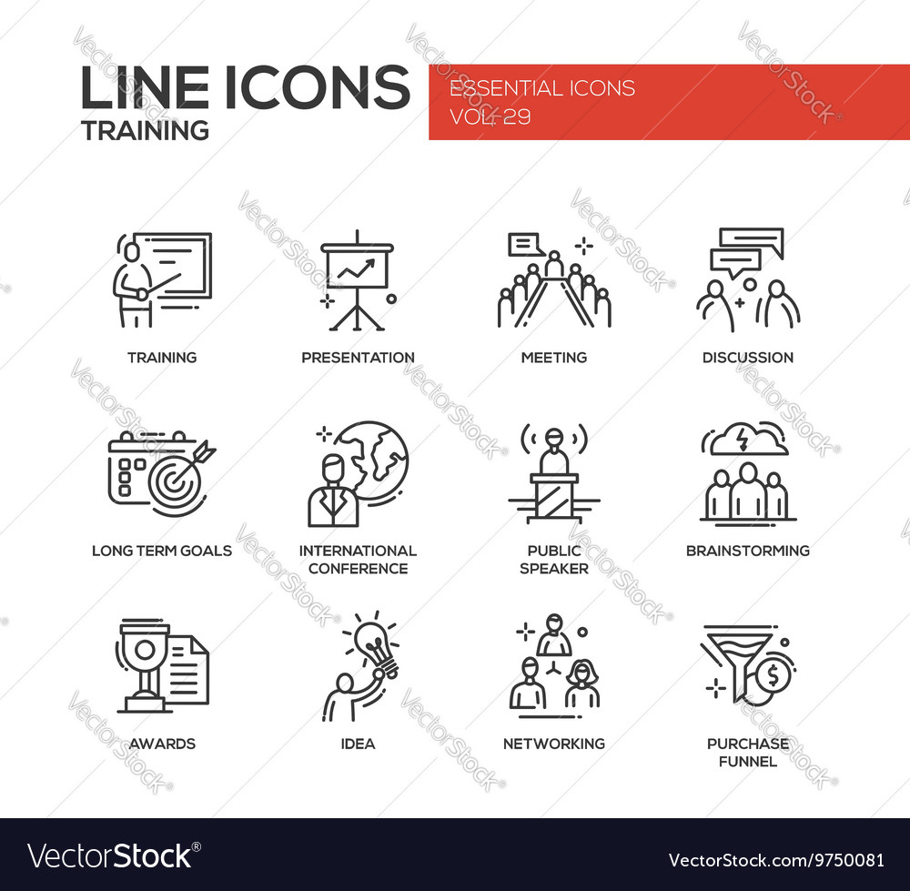 Business Training - line design icons set