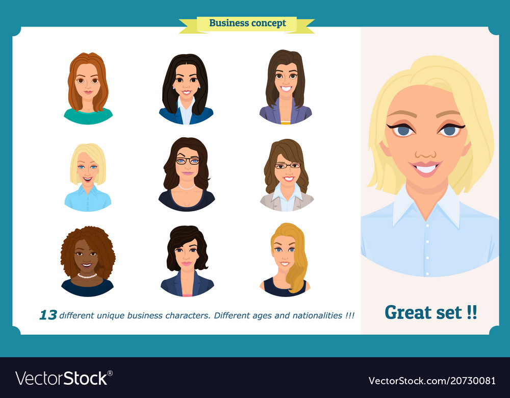 Business woman avatars team icons collection