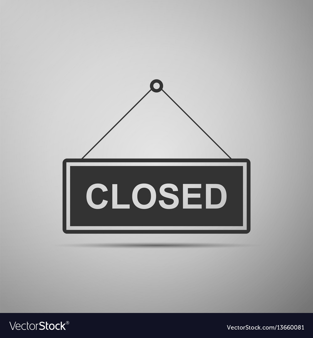 Closed door sign flat icon on grey background