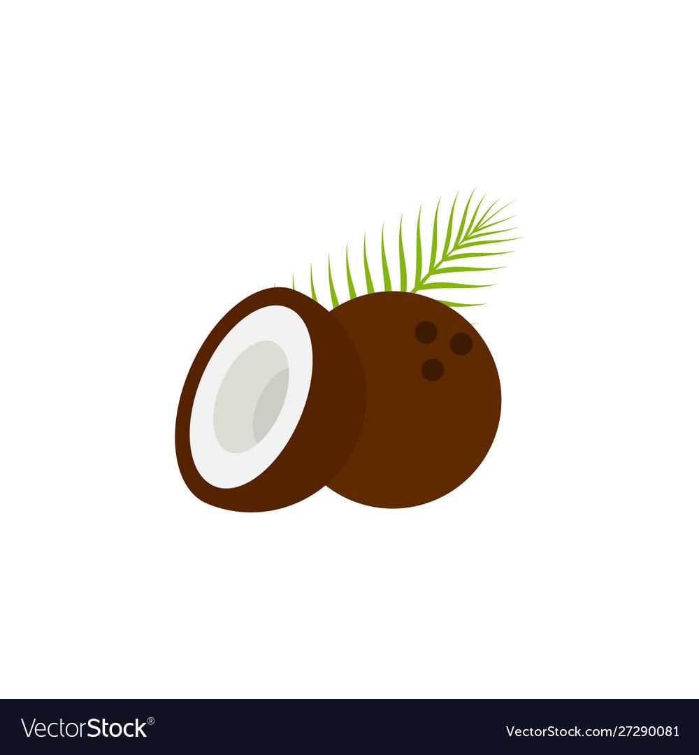 Coconut icon flat style eps10