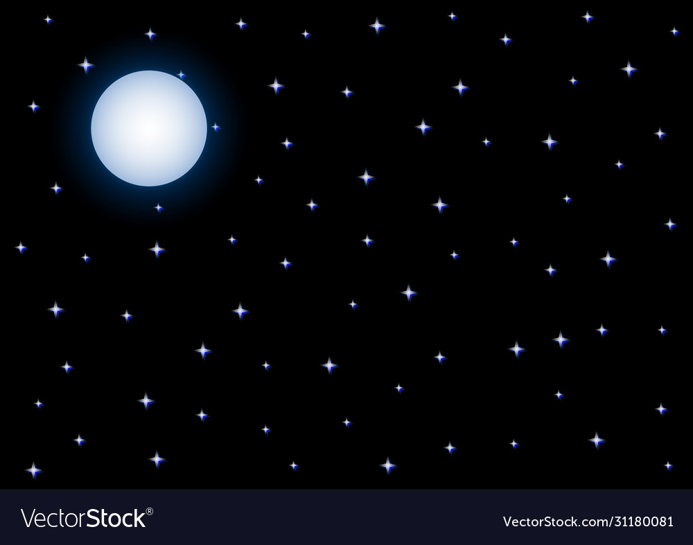 Full moon and starry night sky on black background