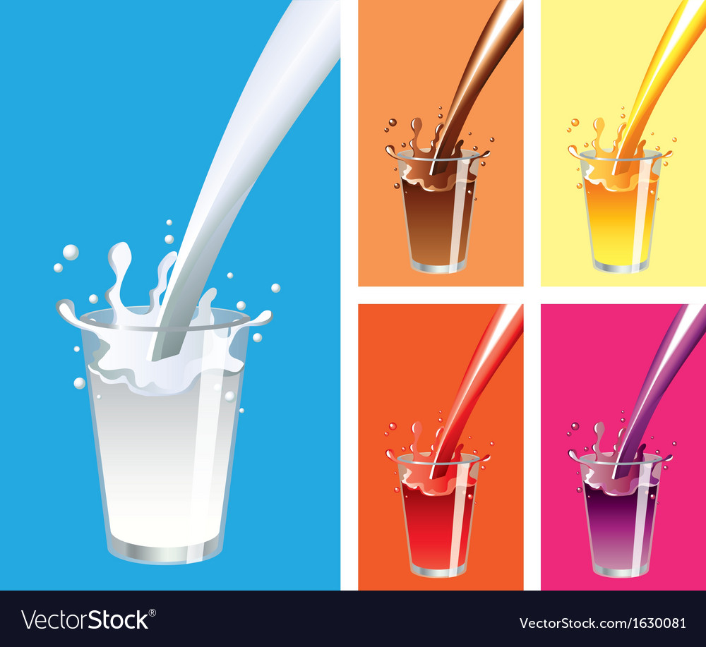 Glass milk juices vector image
