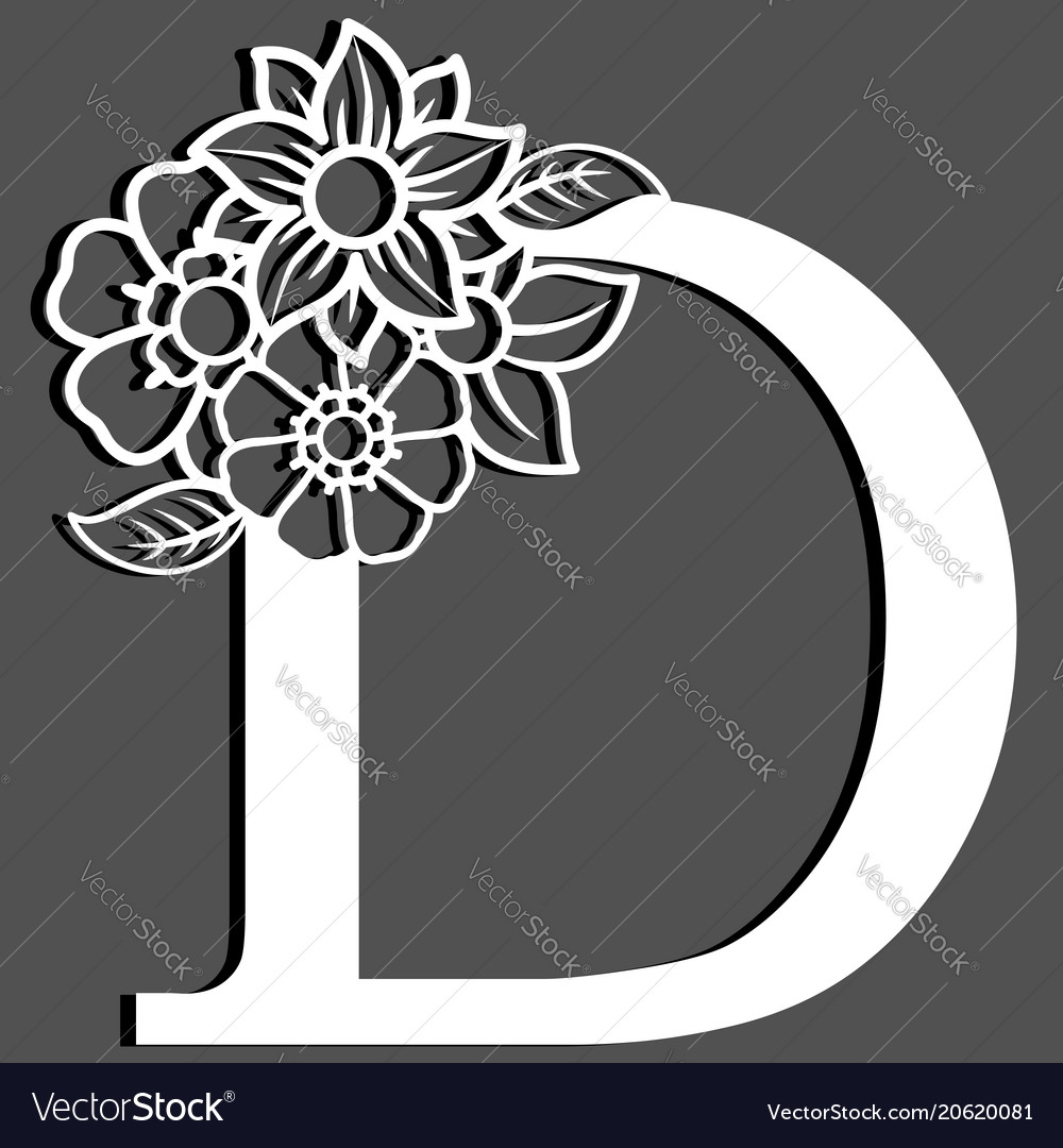 Letter silhouette with flowers letter d