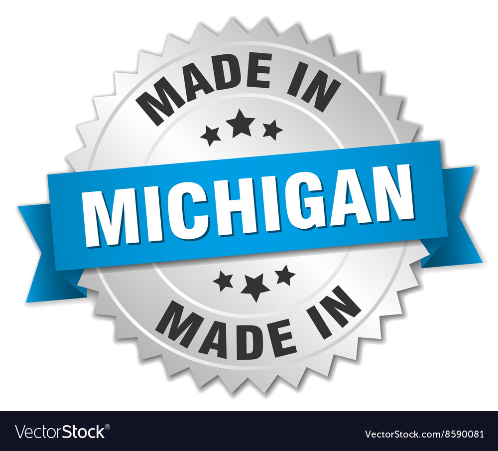 Made In Michigan >> Made In Michigan Silver Badge With Blue Ribbon