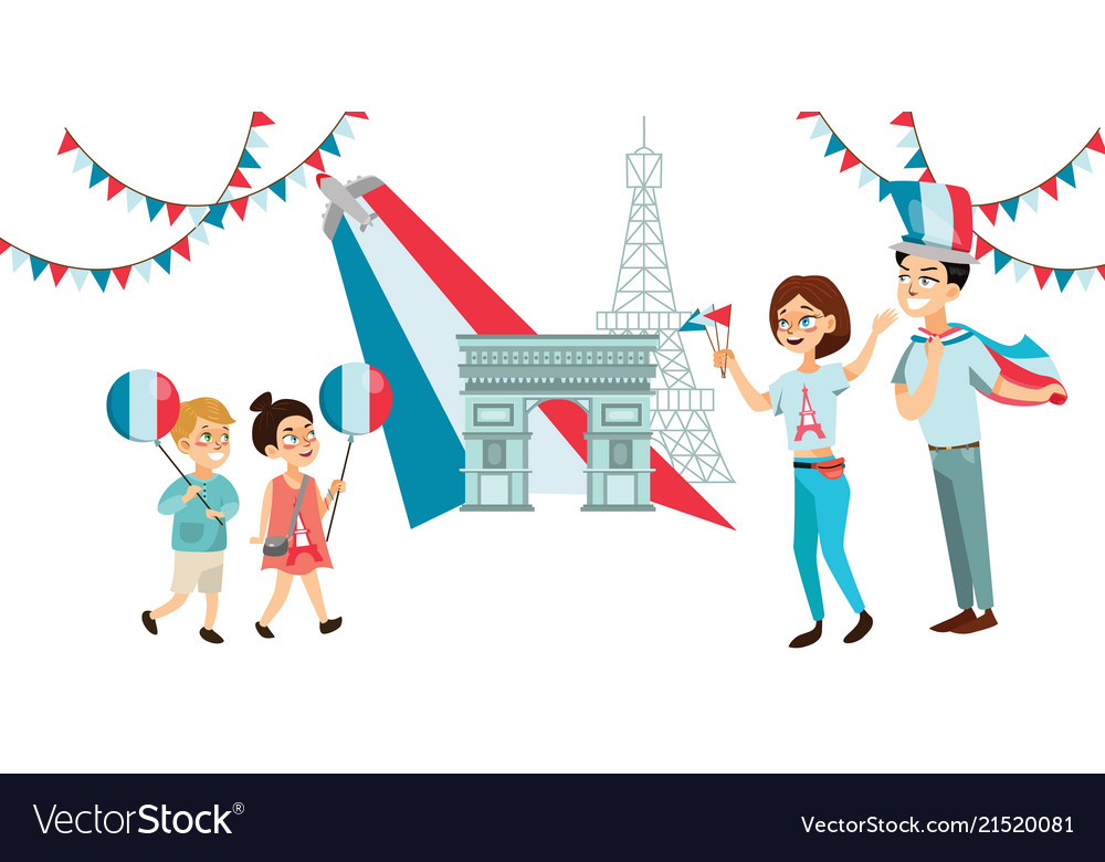 Man and woman on national holiday france people