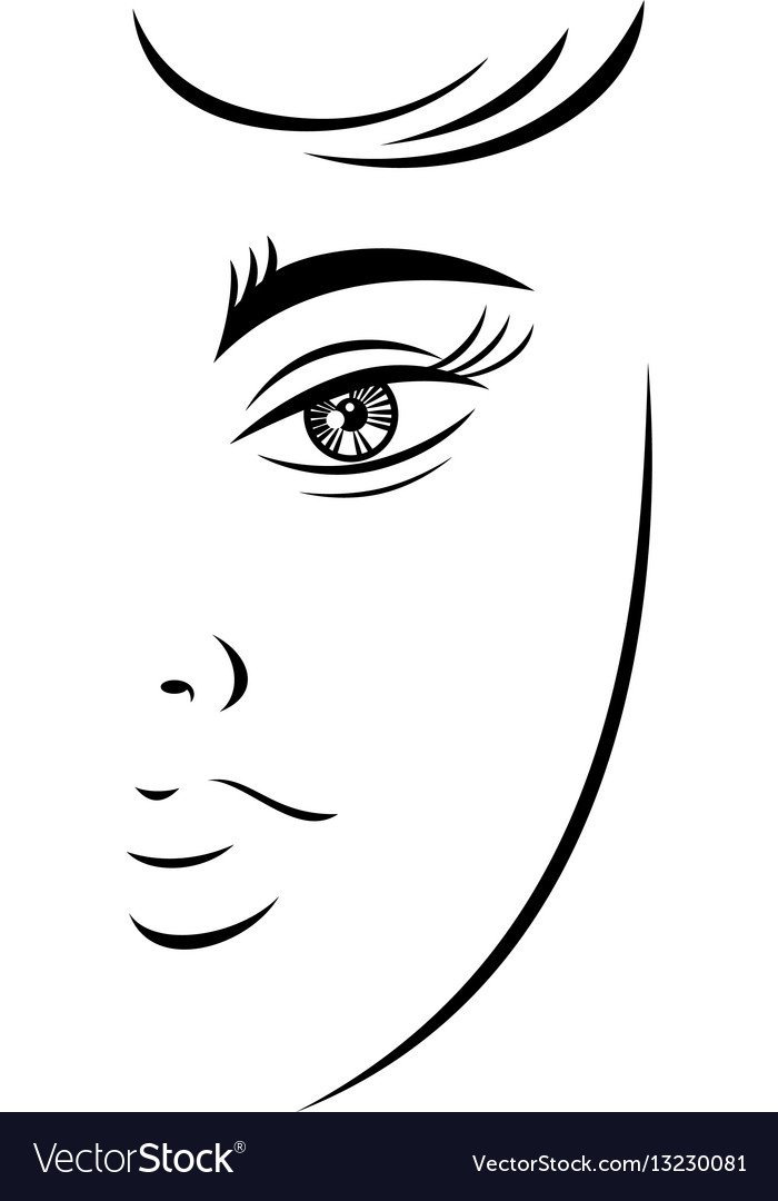 Outline drawing young female face