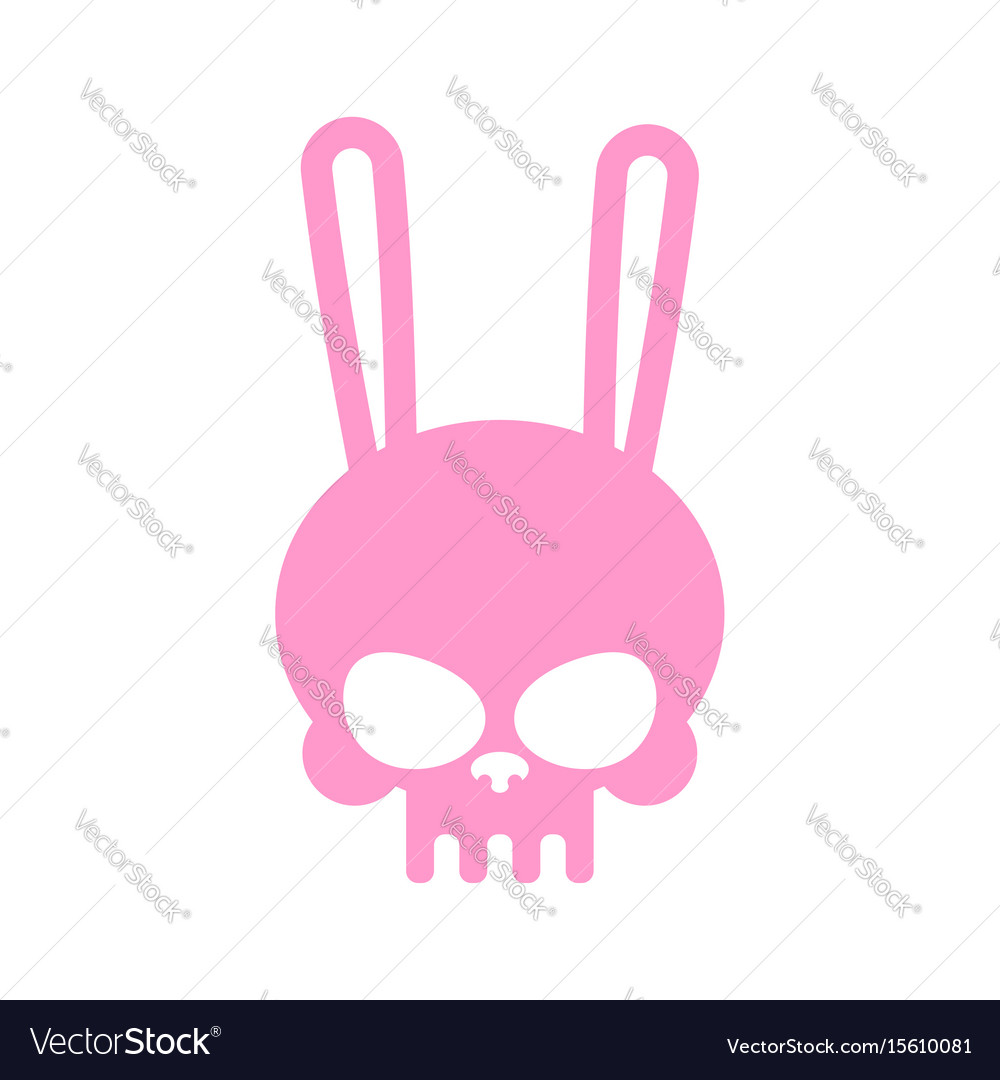 Rabbit skull isolated pink hare skeleton head vector image