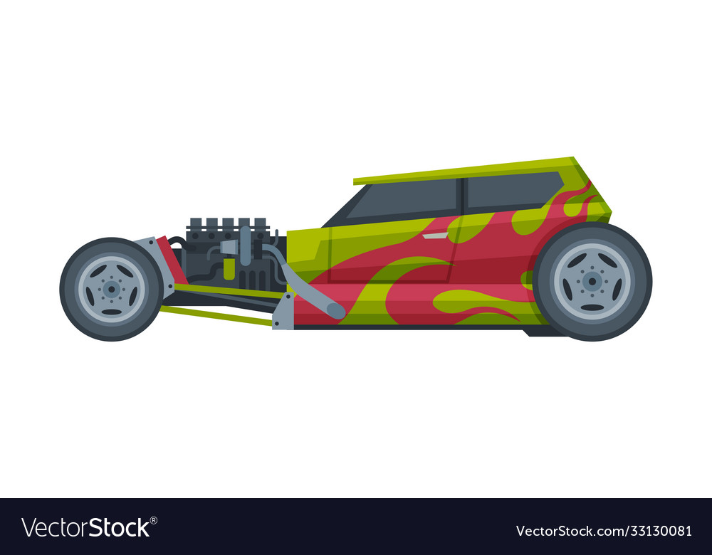 Retro style hot rod race car old sports green and