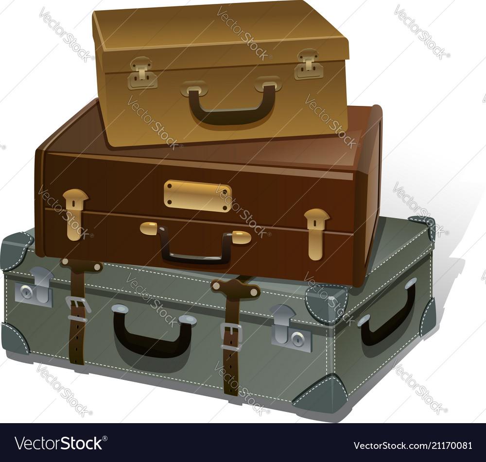 Retro suitcases on white background