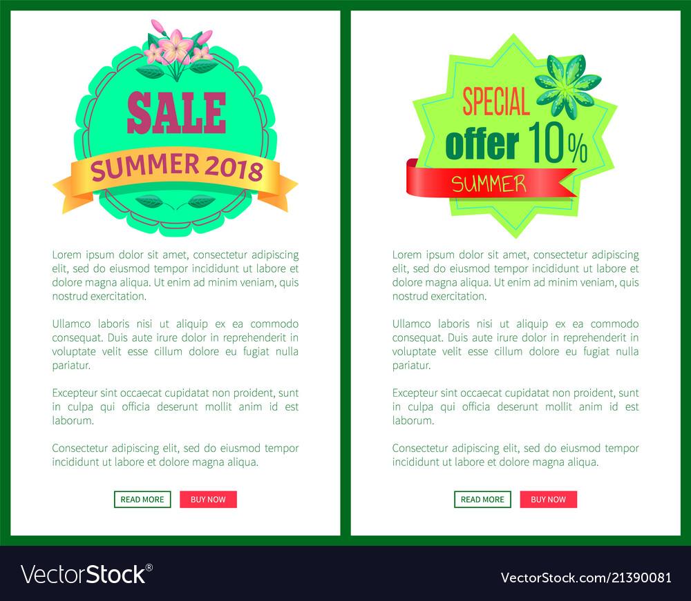 Sale summer 2018 special offer promotional emblems