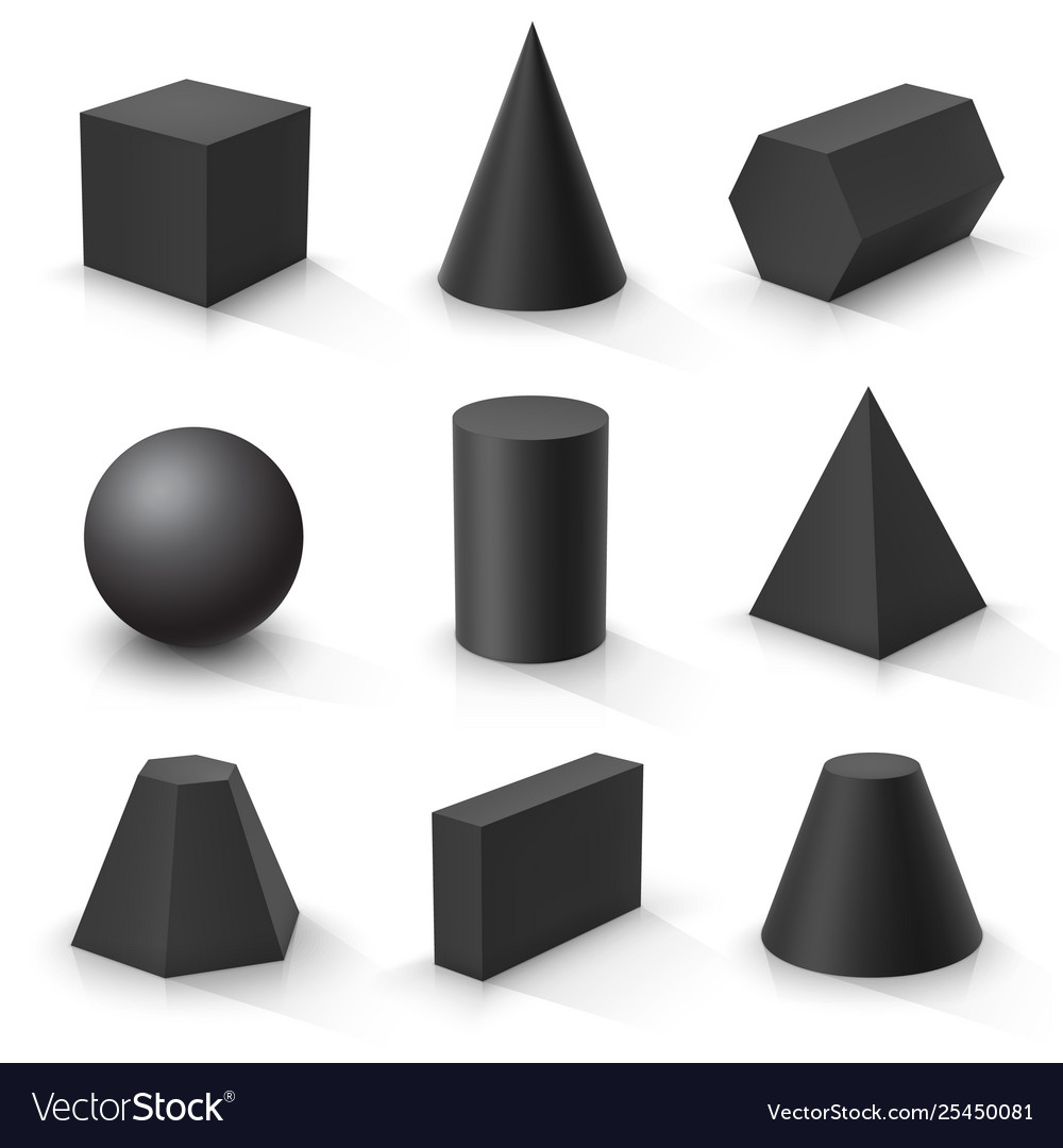 Set basic 3d shapes black geometric solids on