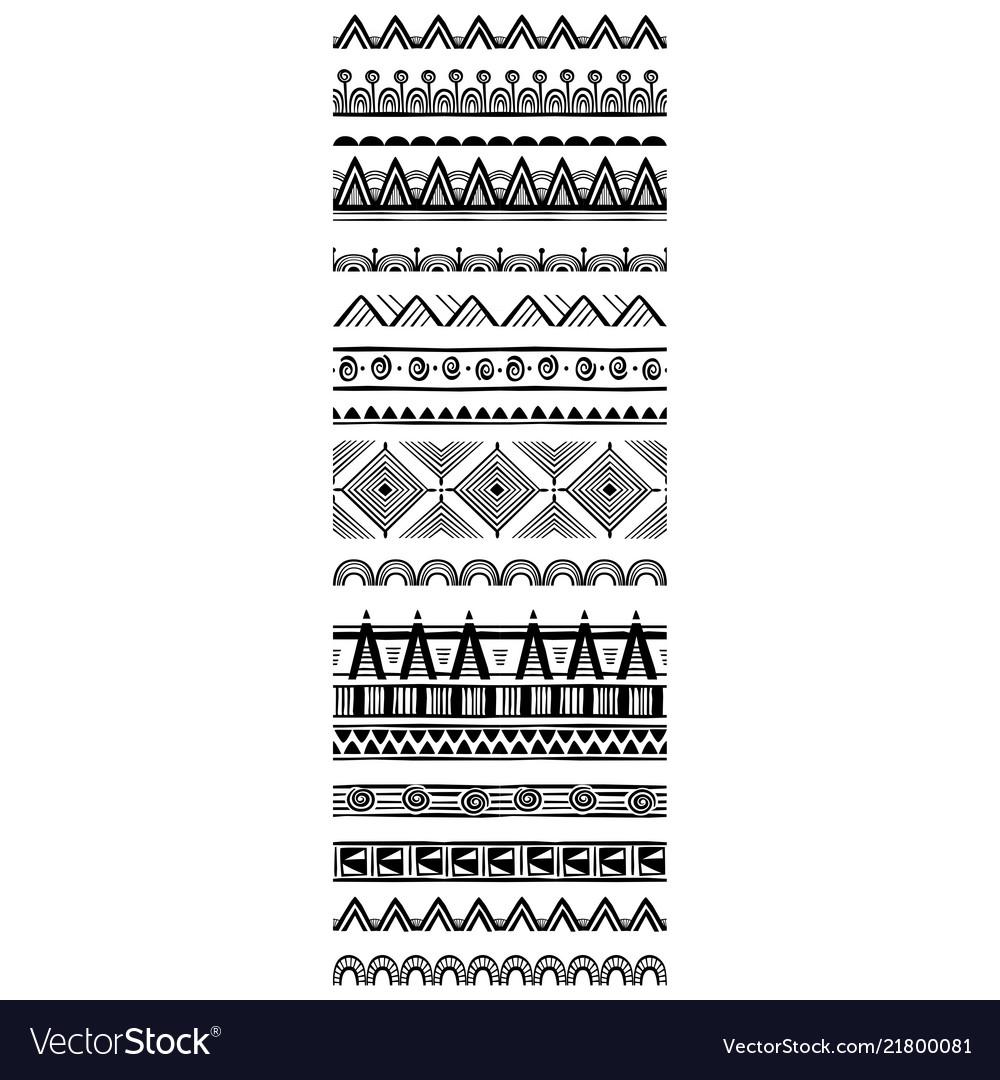 Set of geometric pattern brushes in tribal ethnic