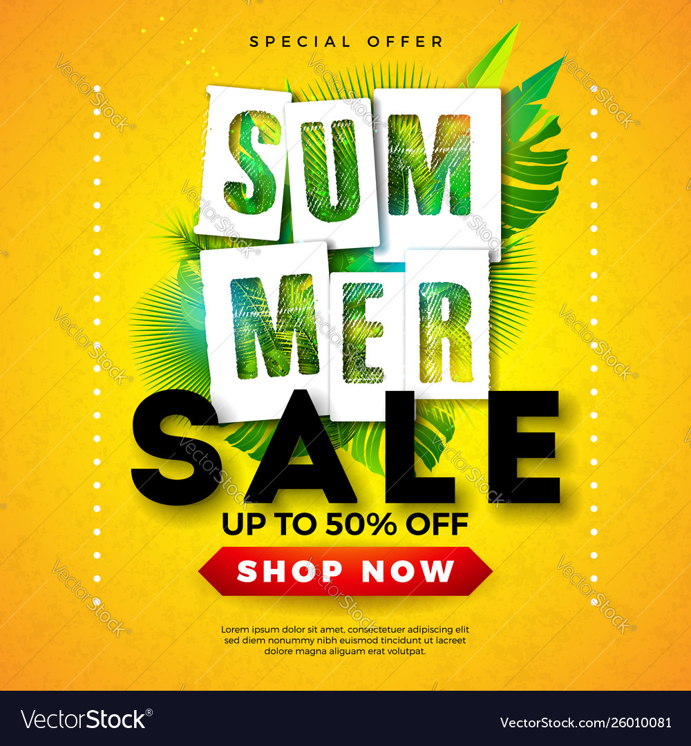 Summer sale design with tropical palm leaves and