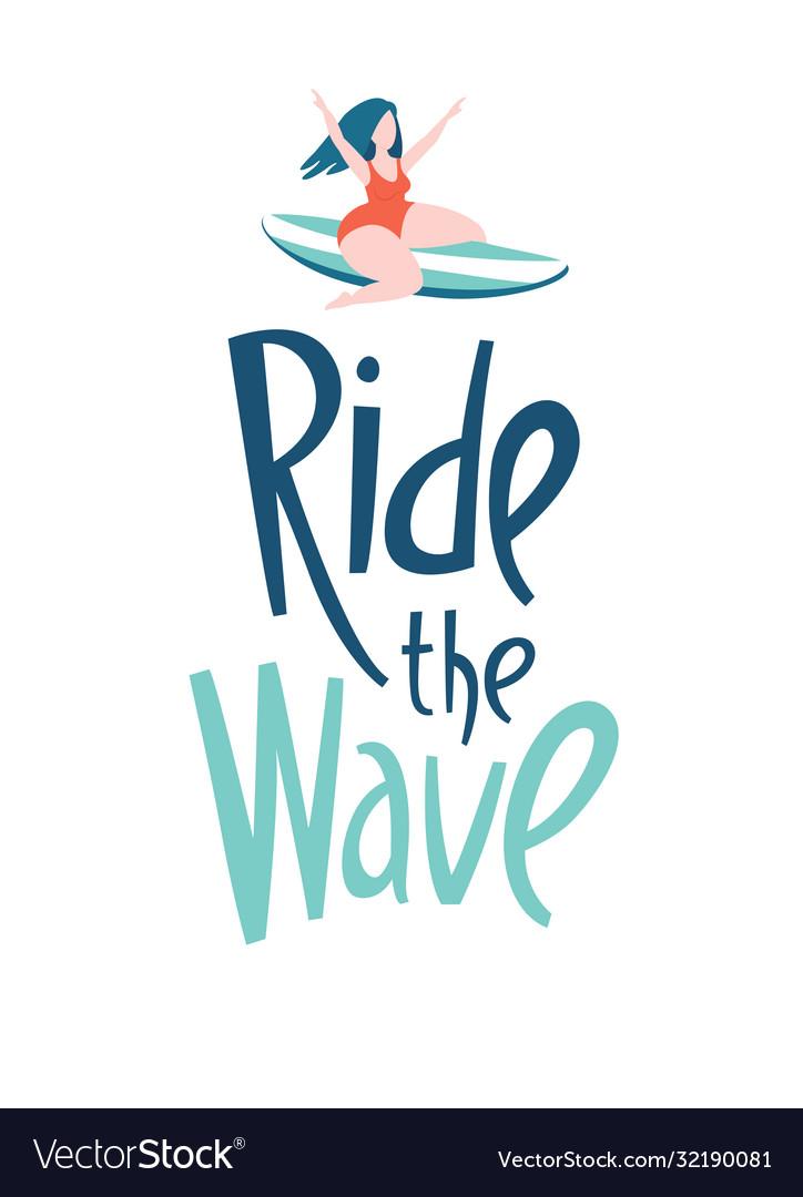 Surfing girls in ocean ride wave lettering