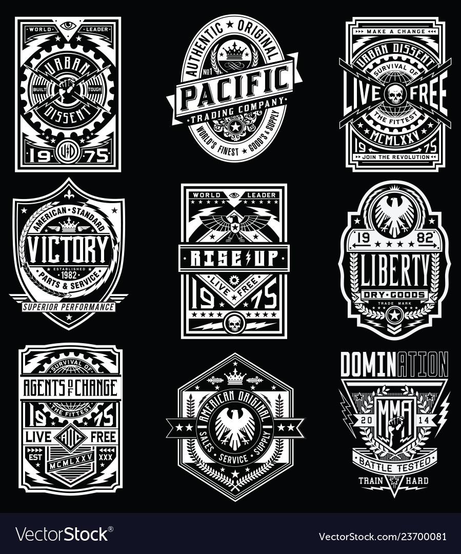 Vintage poster emblem t-shirt design set