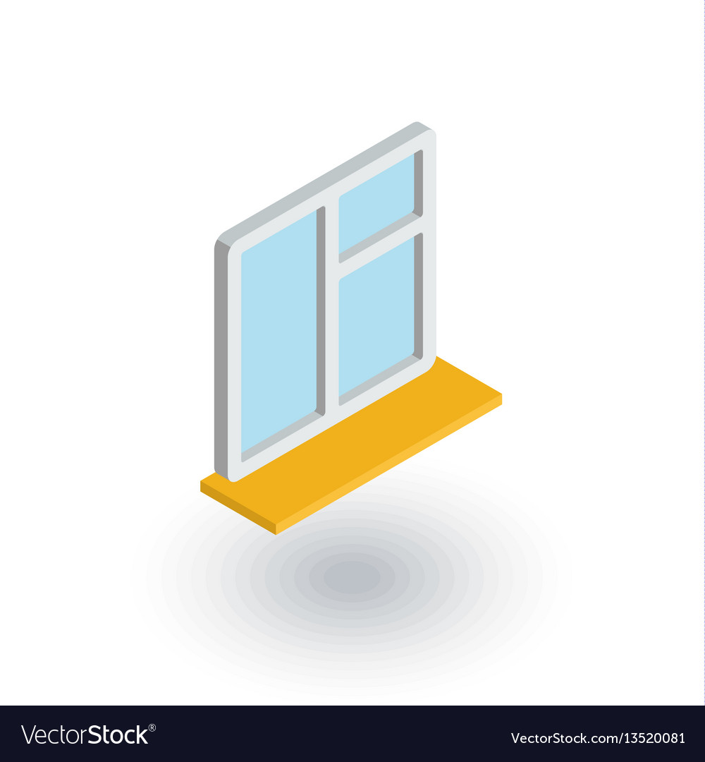 Window whith sill isometric flat icon 3d