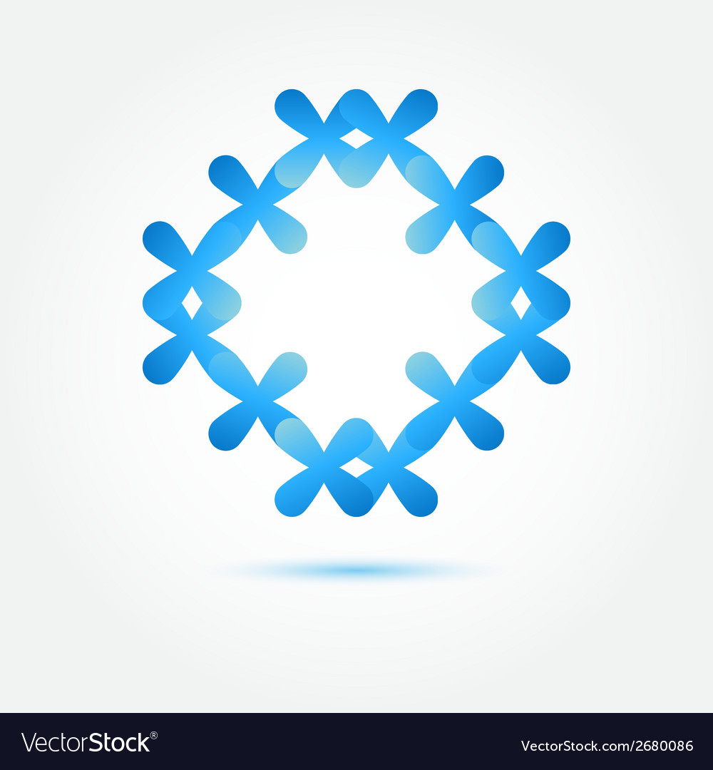Abstract Symbol In Blue Soft Colors Made Of Many Vector Image
