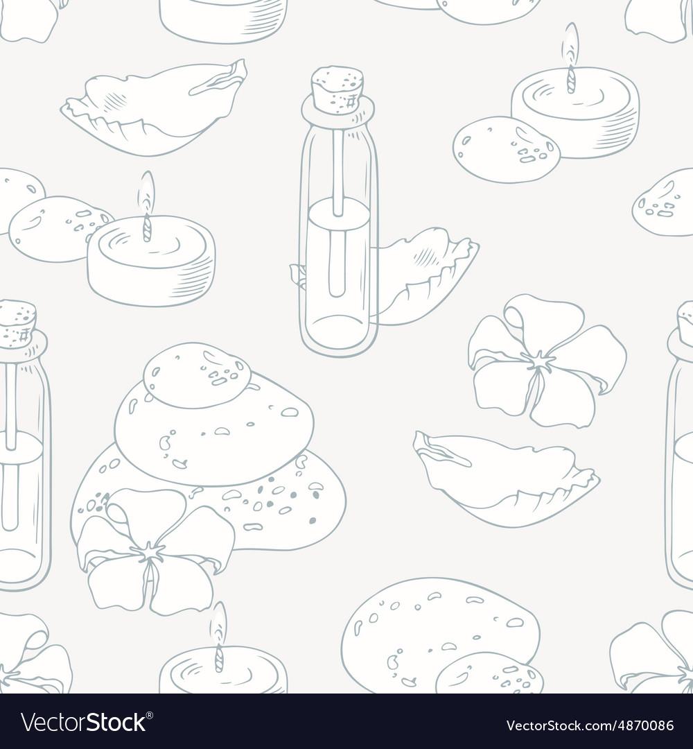 Aromatherapy and spa outline seamless pattern