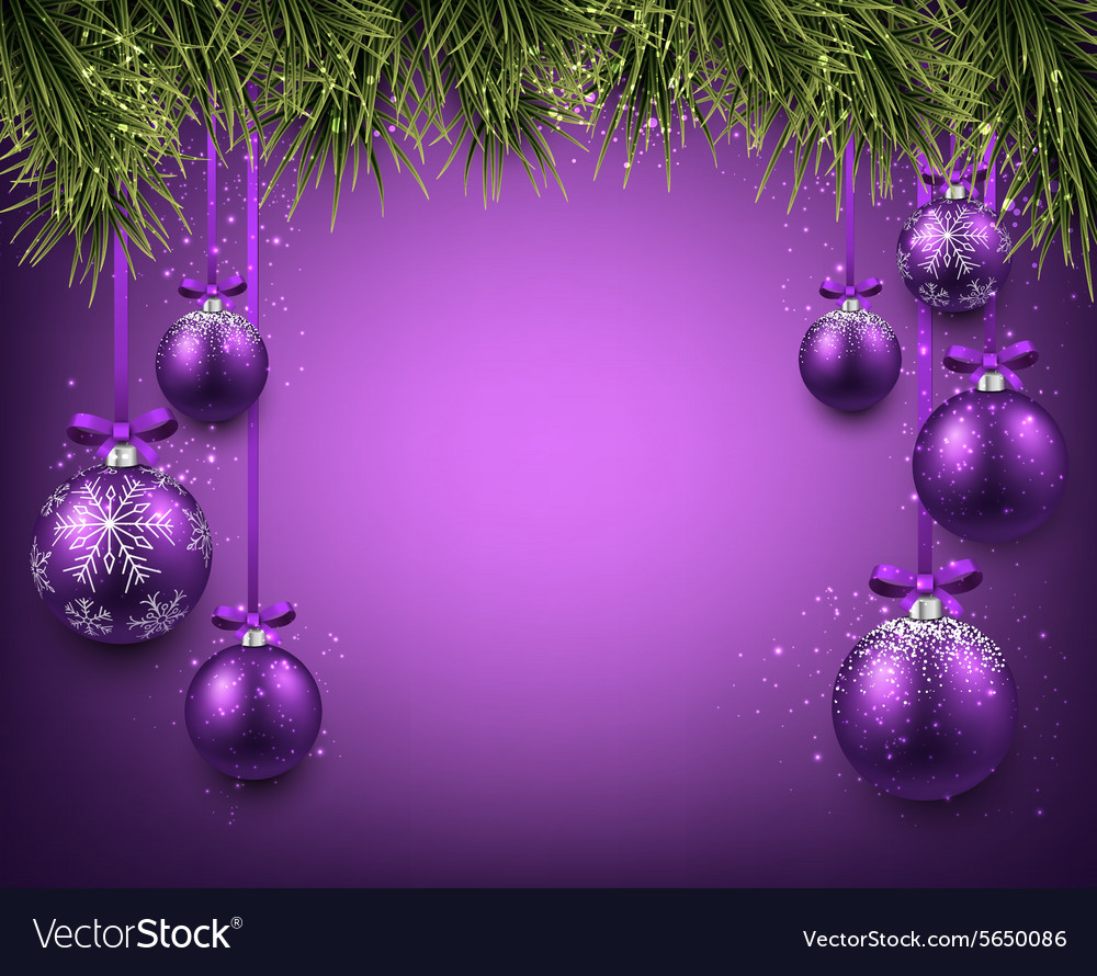 Background With Purple Christmas Balls Vector Image