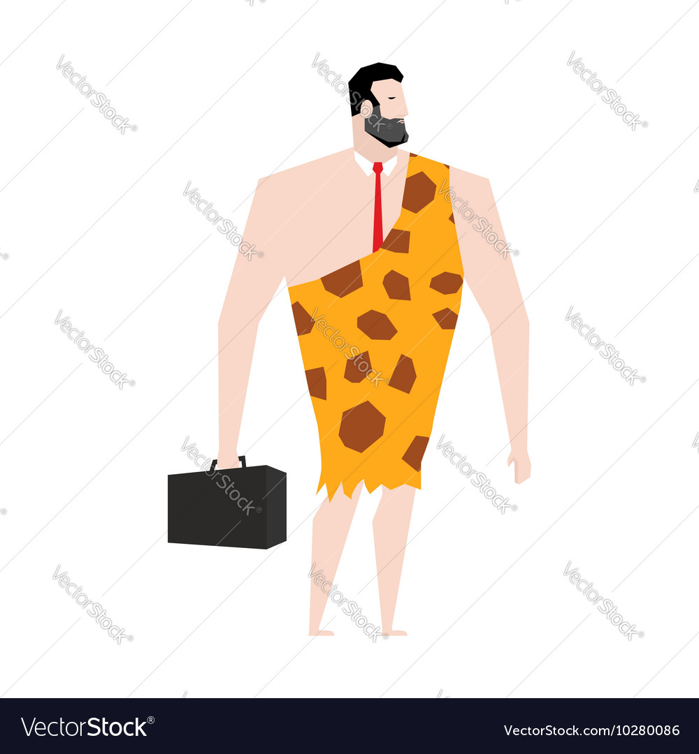 Businessman prehistoric Ancient boss in skin of