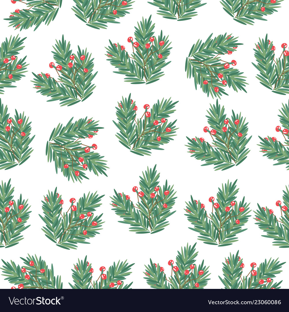 Christmas seamless pattern with tree branches and