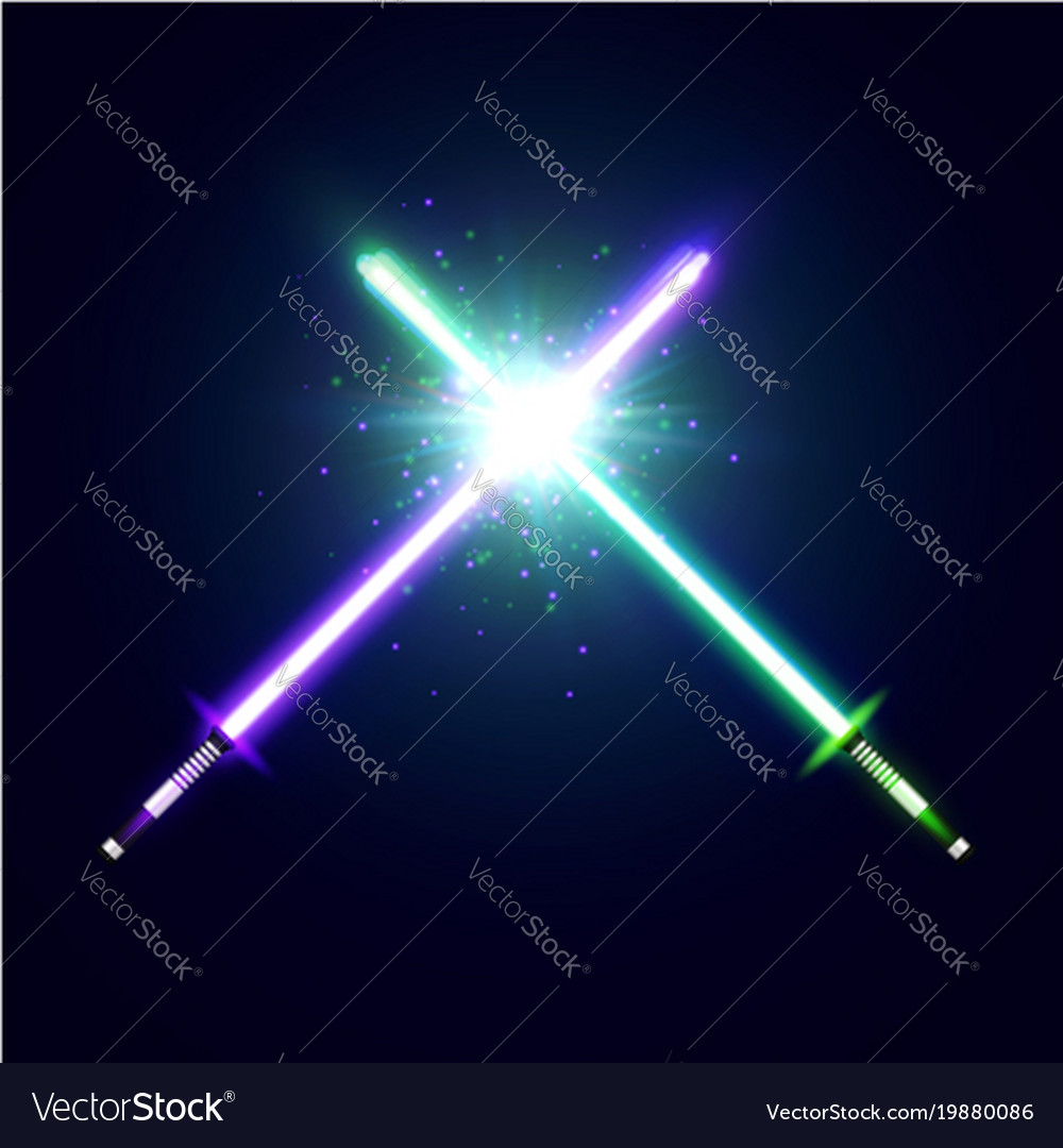 Crossed neon swords with trembling blades fight vector image