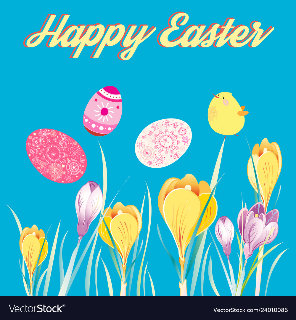 Festive greeting easter card with eggs and chicken