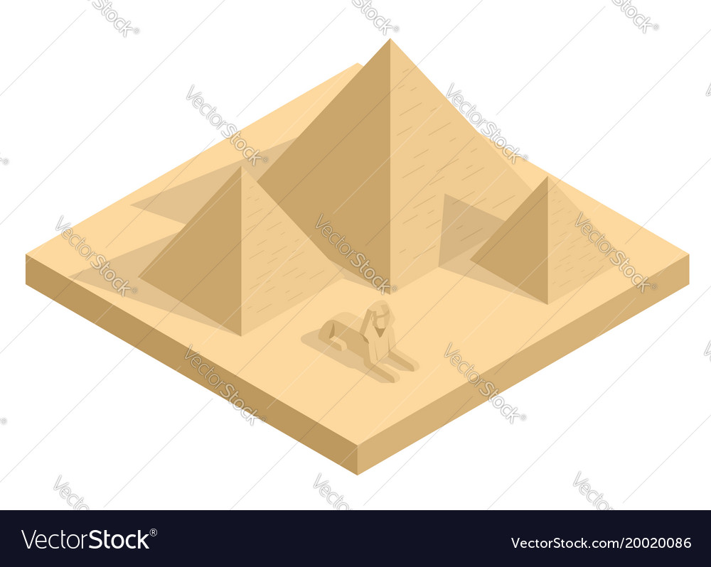 Isometric great sphinx including pyramids of