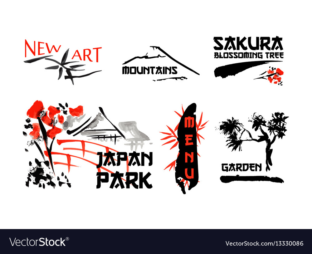 Logo templates set with asia landscapes buildings