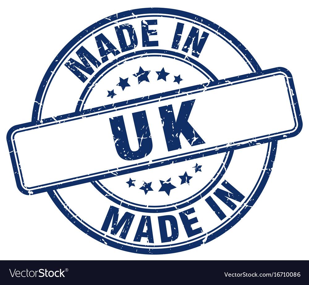 Made in uk blue grunge round stamp vector image