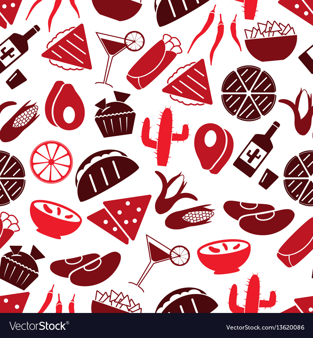 Mexican food theme set of icons seamless pattern
