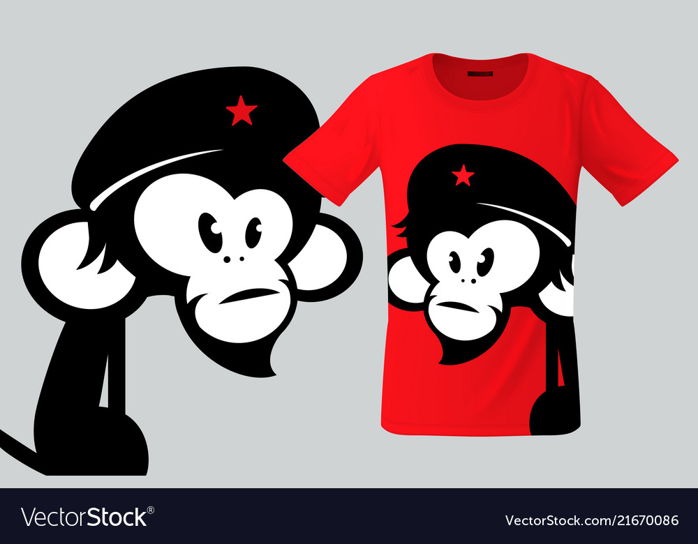 Monkey with beret t-shirt design modern print use