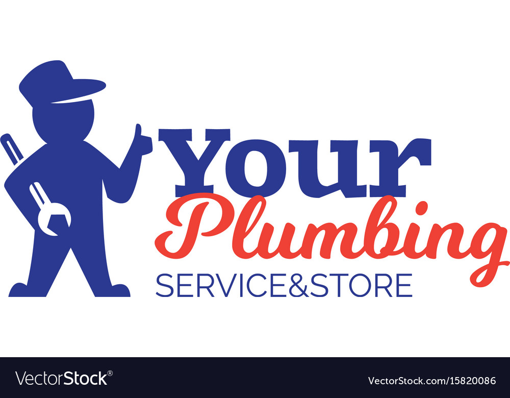 Plumbing logo with repairman holding wrench