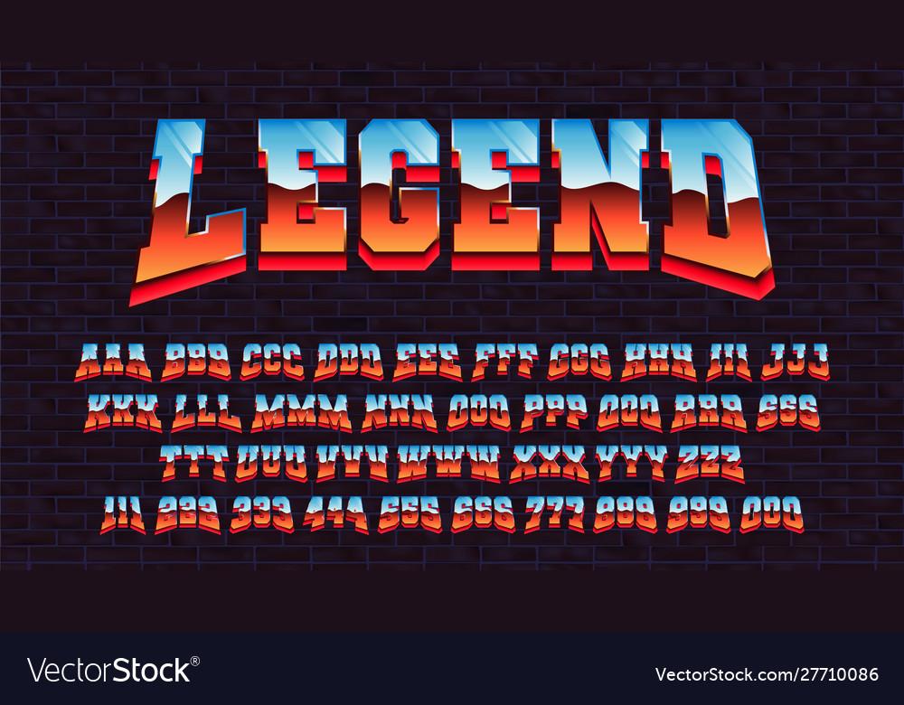 Retro futuristic latin font alphabet 80 x three
